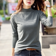 Semi-high-collar blouse with long sleeves for women in the early spring of 2019, a new style of self-cultivation, pure color and velvet cotton T-shirt for women in autumn warmth