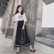 Suit Women's Summer 2019 New Korean Fashion Loose T-shirt Top with Recreational Loin and Broad-legged Pants
