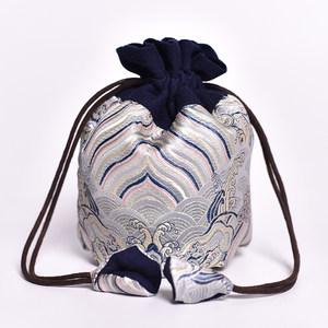 日本购新款<span class=H>束口袋</span>锦囊绒布袋小袋子钱袋古代收纳刺绣抽绳小号民族