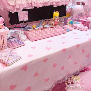 粉色甜美爱心波点蕾丝桌布学生书桌化妆桌装饰少女桌布餐桌布包邮