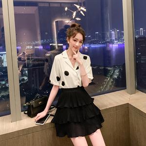 轻季波点套装2019新款夏洋气减龄半身裙两件套高冷御姐风休闲<span class=H>女装</span>