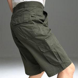 吉普盾夏季薄款七分裤男宽松户外休闲纯<span class=H>棉裤</span>子男多口袋工装裤短裤