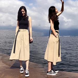 女春夏新款2019海边度假套装裙中长款港味时尚气质两件套连衣裙51