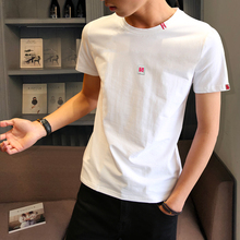 Men's Short Sleeve T-shirt and Round-collar Dress in Summer Korean Cotton with White T-shirt and Men's Half-sleeve Moisture