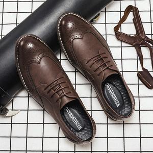 春季<span class=H>布洛克</span><span class=H>男鞋</span>英伦雕花皮鞋男士商务正装百搭透气<span class=H>鞋子</span>休闲婚鞋潮