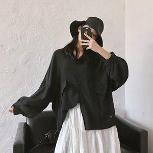 苏安家 宽松蝙蝠袖雪纺衬衫春夏新款酒红/黑色长袖上衣翻领衬衣女