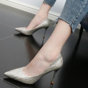 <span class=H>单鞋</span>女2018新款高跟夏季条纹拼色性感尖头浅口时尚细跟通勤女鞋潮