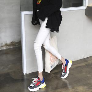 2018春夏新款韩版高腰ins白色破洞<span class=H>牛仔裤</span>女九分弹力紧身小脚裤潮