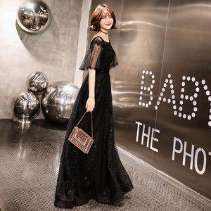 高端大气<span class=H>晚礼服</span>2018新款奢华时尚高贵修身长款冬季年会礼服女宴会