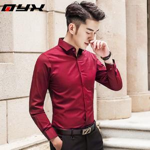 春秋季男士长袖衬衫酒红色韩版潮流修身衬衣商务休闲帅气纯色寸衫