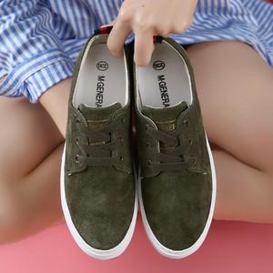 名将<span class=H>帆布鞋</span>女2017春季新款猪皮低帮鞋韩版潮平底鞋系带女鞋松糕底
