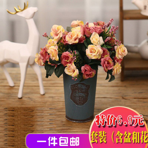 假花<span class=H>摆件</span>盆栽花束塑料花室内装饰仿真客厅拍摄道具欧式插花小饰品