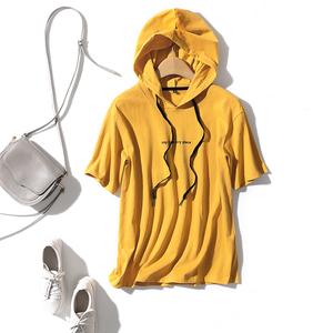 好看的<span class=H>芒果</span>色,洋气显肤白!夏季不热,水洗纯棉连帽短袖T 淘么淘