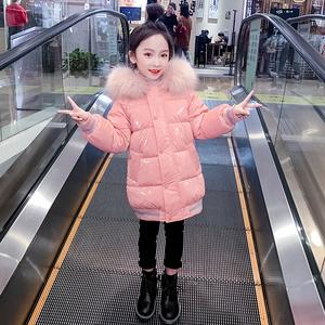女童亮面棉服洋气2020新款韩版中大童加厚外套儿童中长款羽绒棉衣