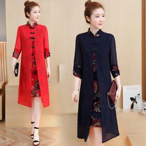 假两件套装女2018秋季新款韩复古中国风印花修身改良版旗袍连衣裙