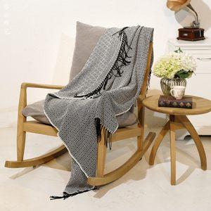 简约现代菱形小方块纯色休闲毛毯<span class=H>沙发</span>床尾搭巾装饰搭毯几何设计款
