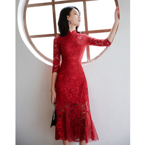敬酒服新娘现代红色蕾丝中式小礼服女改良<span class=H>旗袍</span>鱼尾修身显瘦中长款