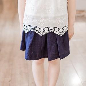 熊和荷包蛋童装女童<span class=H>短裙</span>棉麻夏季纯棉刺绣裙儿童裙子百搭日系纯色
