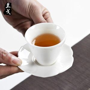兰戈白瓷杯垫茶杯托玉瓷茶托隔热<span class=H>茶垫</span>茶具配件小杯托<span class=H>陶瓷</span>杯碟底座