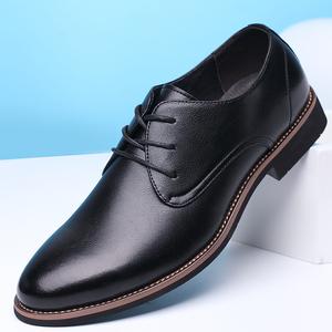 冬季<span class=H>皮鞋</span>男真皮商务正装休闲<span class=H>鞋子</span>英伦韩版结婚鞋内增高<span class=H>男鞋</span>上班鞋
