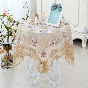 桌布欧式布艺高档奢华长方形小圆桌客厅蕾丝镂空正方形家用餐桌布