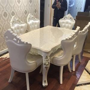 欧式<span class=H>餐桌</span>椅组合 轻奢大理石长方桌实木白色小户型6人饭桌住宅<span class=H>家具</span>