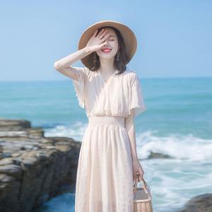 甜美中長裙連衣裙很仙的法國小眾仙女裙超仙流行裙子夏季新款<span class=H>女裝</span>