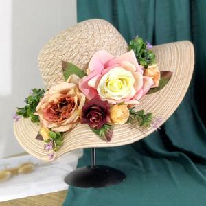 大檐沙滩帽子女夏天海边出游遮阳帽韩版百搭chic花朵草帽女可折叠