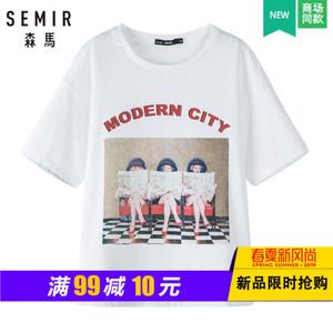 【门店发货】<span class=H>森马</span>2019夏季新款落肩袖短袖T恤女套头印花打底衫
