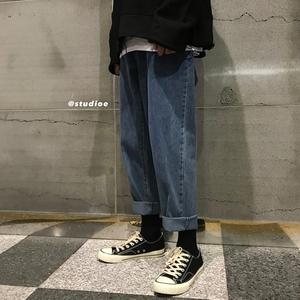 港风宽松复古男士<span class=H>牛仔裤</span>秋冬韩版直筒阔腿哈伦裤chic潮流帅气裤子