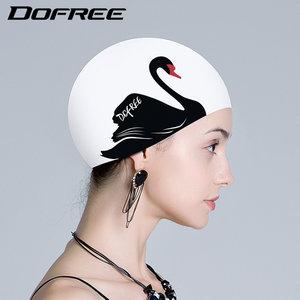 朵梵林胶质女士长发韩国时尚可爱大号硅胶成人白色防水印花游<span class=H>泳帽</span>