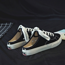 Summer new canvas shoes Korean version of female students kick lazy shoes without heels and half slippers white shoes casual cloth shoes
