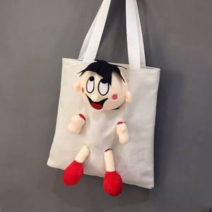 芝麻街帆布包女单肩ins韩版学生个性创意旺仔玩偶单肩包购物袋潮