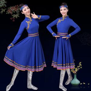 民族舞<span class=H>服装</span>蒙古舞蹈演出服饰成人舞蹈服<span class=H>女装</span>广场舞蒙族大摆裙短款