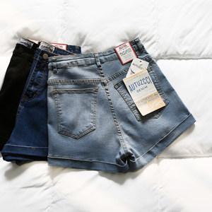 高腰牛仔<span class=H>短裤</span>女夏2019新款韩版百搭弹力修身显瘦卷边黑色女裤热裤