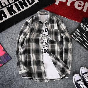 春夏季男士长袖格子衬衫韩版个性薄款衬衣港风潮流学生休闲外套男