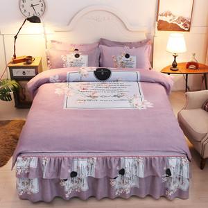 欧式宫廷风加厚纯棉全棉床裙四件套床上用品床盖被套荷叶边床罩