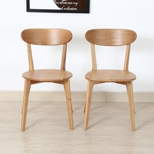 北欧<span class=H>餐椅</span>实木简约现代单人休闲多功能椅子家用简易白橡木靠背椅子