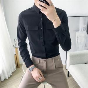 韩国时尚2019春季大口袋设计韩版修身纯色免烫男士休闲长袖<span class=H>衬衫</span>潮