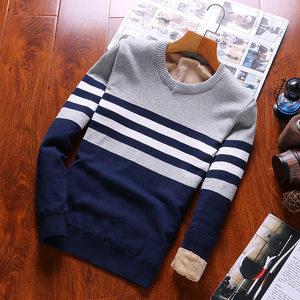 冬季新款加绒男式<span class=H>毛衣</span>男士保暖针织衫韩版青年条纹长袖加厚羊毛衫