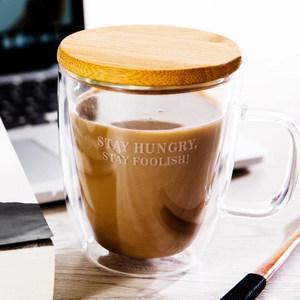 双层玻璃杯情侣马克杯带盖勺牛奶杯玻璃ins咖啡杯办公室<span class=H>杯子</span>水杯