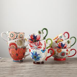 欧式手绘陶瓷杯创意早餐杯燕<span class=H>麦片</span>杯牛奶杯大容量咖啡杯大号汤杯