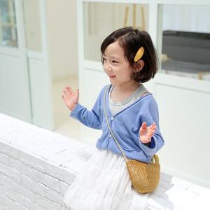 儿童单外套V领<span class=H>开衫</span>韩版时髦洋气2019春天薄款宝宝空调衫皮肤上衣