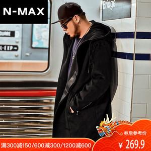 NMAX大码<span class=H>男装</span>潮牌 潮胖子冬季加厚连帽外套 加肥加大宽松毛<span class=H>呢大衣</span>