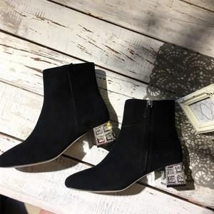 2019年新款磨砂真皮小<span class=H>短靴</span>女春秋单靴高跟靴子水钻裸靴网红瘦瘦靴