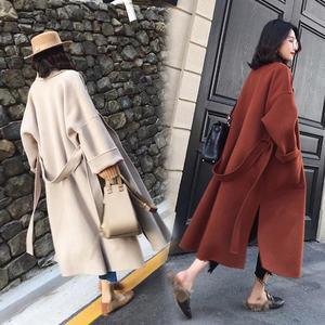 冷系赫本西装毛呢外套大衣女韩2018新款呢子腰带薄款黑色过膝长款