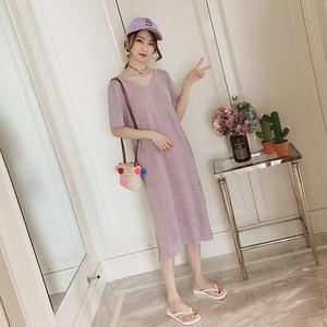 露背连衣裙<span class=H>女装</span>夏装2018新款韩版中长款T恤裙子气质短袖过膝长裙