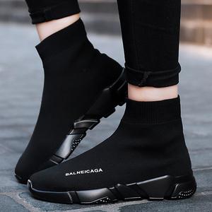 街拍运动<span class=H>男鞋</span>子2019新款春季高帮板鞋情侣弹力袜子鞋男女休闲潮鞋