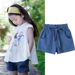 儿童仿牛仔<span class=H>短裤</span>2019夏装新款中大童休闲运动薄款外穿女童纯棉裤子
