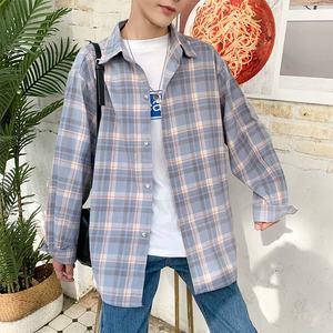 潮男网红<span class=H>衬衫</span>男格子潮牌2019新款夏季韩版学生薄外套宽松长袖衬衣